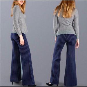 Betabrand Blue Striped Yoga Dress Pants